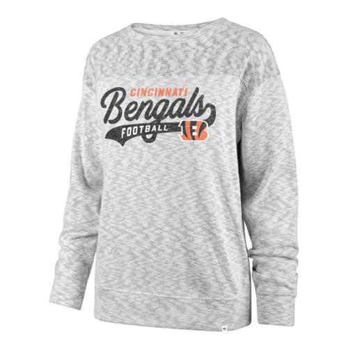 Cincinnati Bengals '47 Brand Ladies White Wash Sport Script White Out Crew Sweatshirt