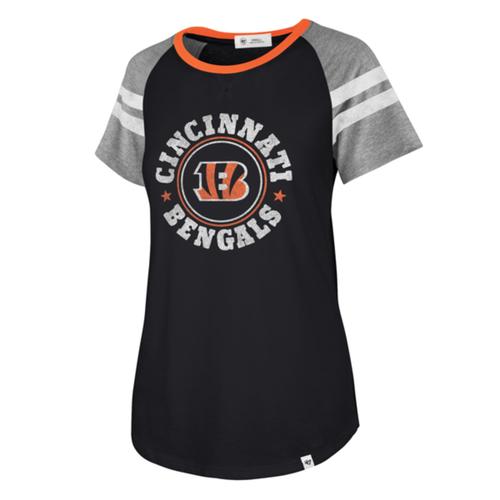 Cincinnati Bengals '47 Brand Ladies Flint Black Static Freestyle Raglan Tee