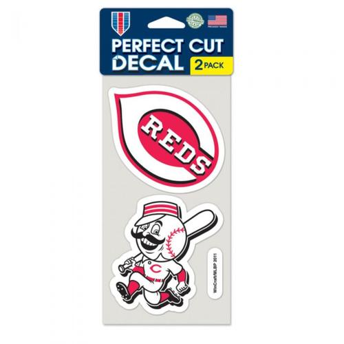 "Cincinnati Reds Set Of Two 4""x4"" Perfect Cut Decals"
