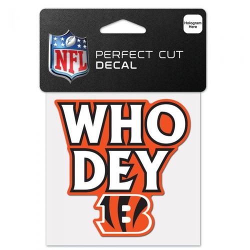 """Cincinnati Bengals """"Who Dey"""" 4""""x4"""" Perfect Cut Color Decal"""
