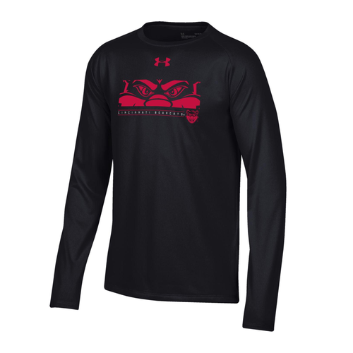 Cincinnati Bearcats Youth Under Armour Mascot Logo Black Long Sleeve Tech Tee