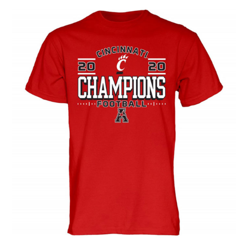 Cincinnati Bearcats Red 2020 AAC Champions Locker Room Short Sleeve T Shirt