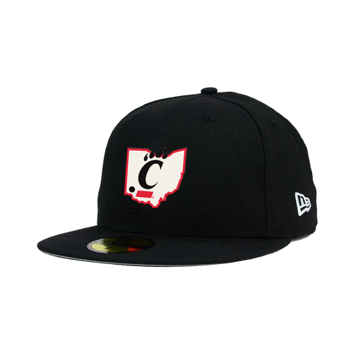 Cincinnati Bearcats New Era Black State Outline 59FIFTY Fitted Hat