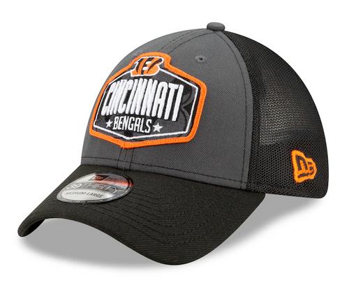 Men's Cincinnati Bengals New Era Graphite/Black 2021 NFL Draft Trucker 39THIRTY Flex Hat