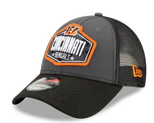 Men's Cincinnati Bengals New Era Graphite/Black 2021 NFL Draft Trucker 9FORTY Snapback Adjustable Hat