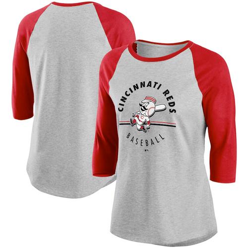 Women's Cincinnati Reds Gray/Red Encircled Tri-Blend 3/4-Sleeve Raglan T-Shirt