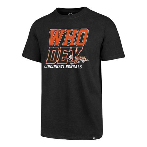 """Cincinnati Bengals '47 Brand Men's Black """"Who Dey"""" Short Sleeve Club Tee"""