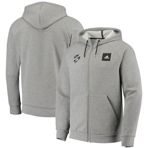 adidas FC Cincinnati Heathered Gray Must-Have Enhanced Raglan Full-Zip Hoodie Jacket