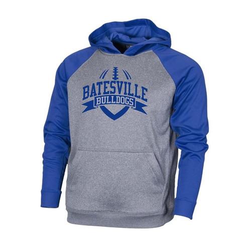 Batesville Football Men's Grey/Royal Raglan Sleeve Performance Hoodie