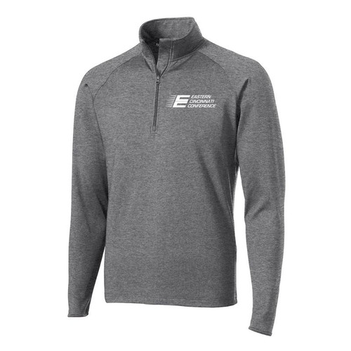 ECC Men's Sport-Tek Sport-Wick Stretch 1/2-Zip Pullover Charcoal Grey Heather