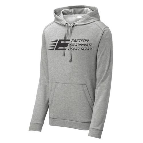 ECC Sport-Tek PosiCharge Tri-Blend Wicking Fleece Hooded Pullover Light Grey Heather