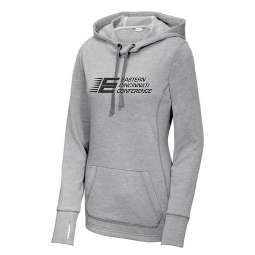 ECC Women's Sport-Tek PosiCharge Tri-Blend Wicking Fleece Hooded Pullover Light Grey Heather