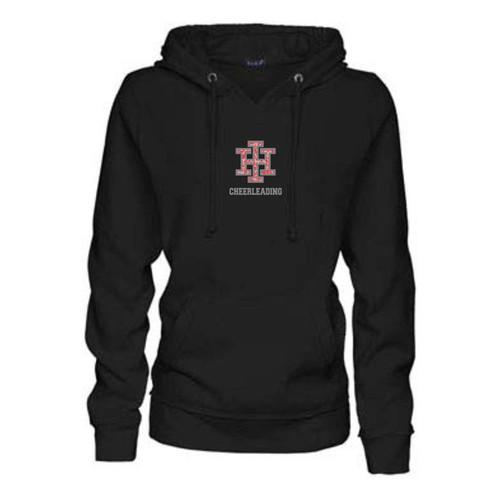 Indian Hill Cheerleading Ladies Black Bling Glitter Logo V-Notch Hooded Sweatshirt