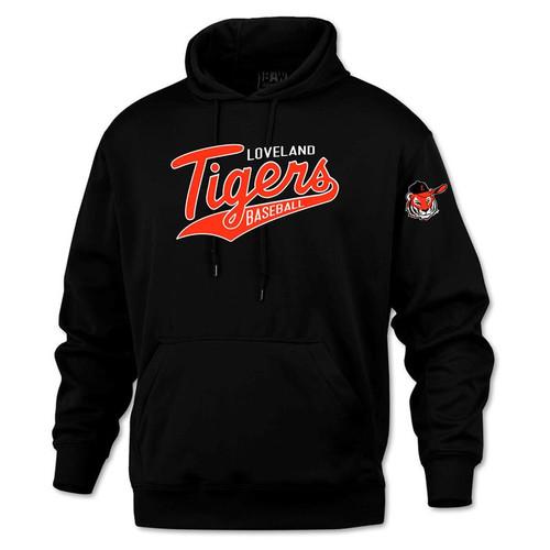 Loveland Tigers Baseball BAW Black Performance Fleece Hooded Sweatshirt