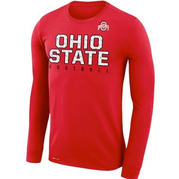 Ohio State Buckeyes Football Practice Legend Performance Long Sleeve T-Shirt - Scarlet
