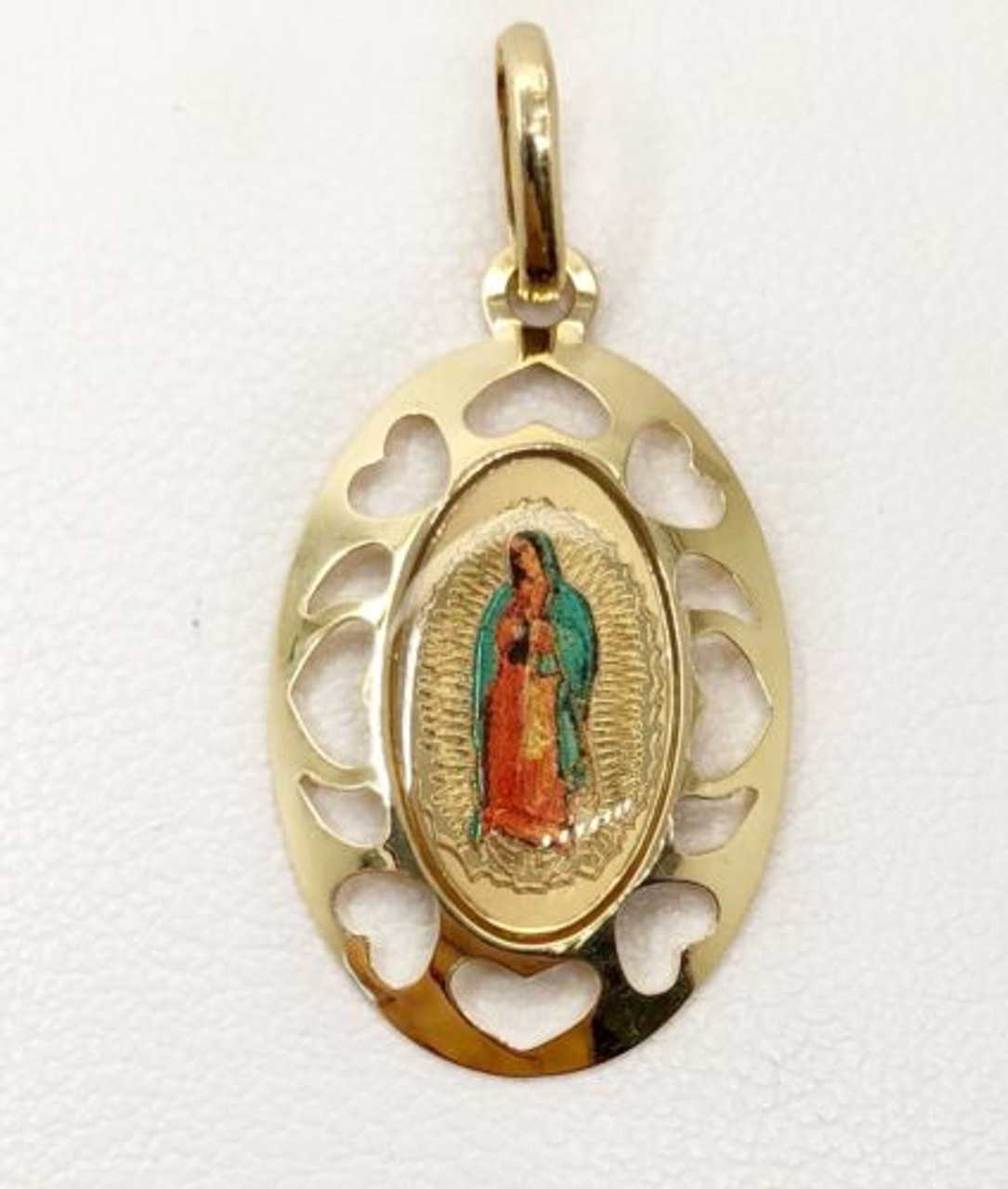 14k Yellow Gold Virgin Mary Guadalupe Oval Shape Charm Pendant 14*9 MM