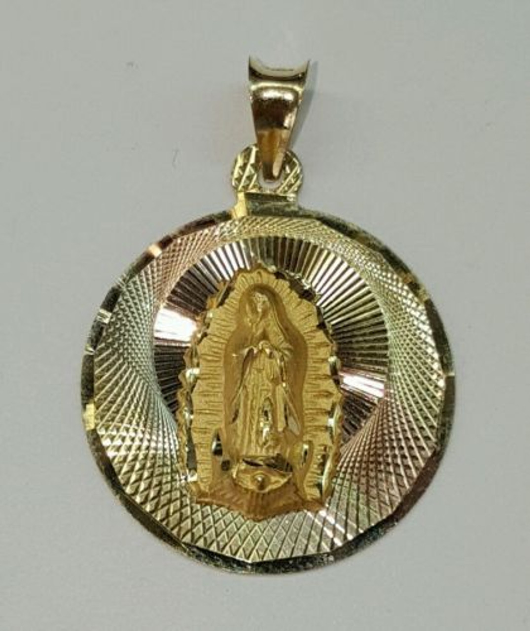 14k Solid Gold Virgin Mary Guadalupe Round Shape Charm Pendant 21 Mm Amin Jewelers