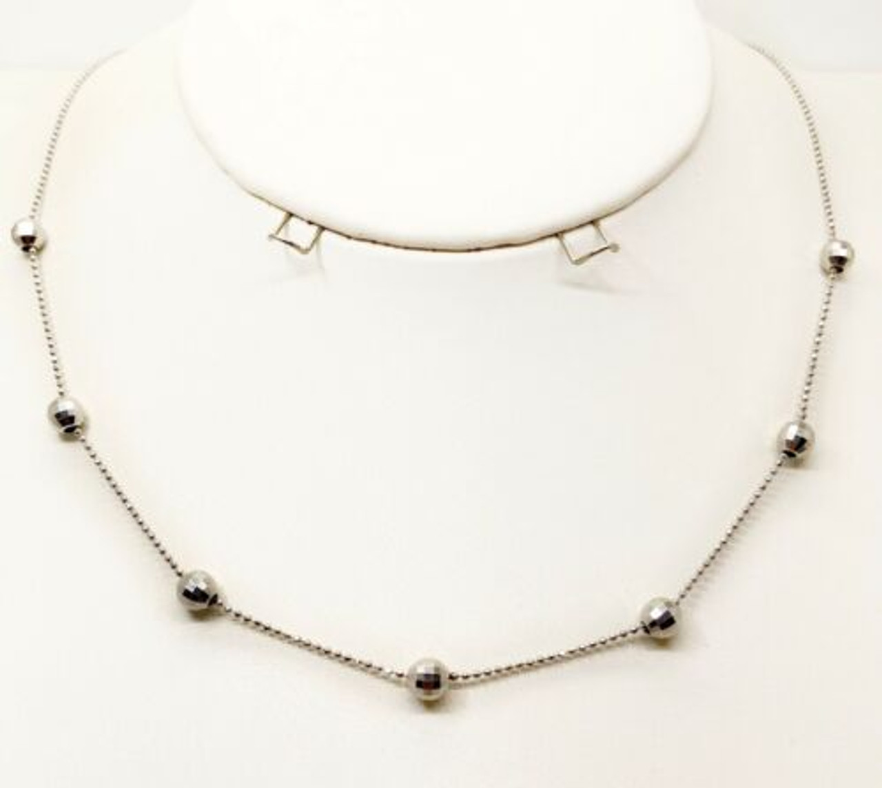 """Solid 14K White Gold Chain Ladies Women Necklace Fancy Bar 18"""" 2.1 Grams"""