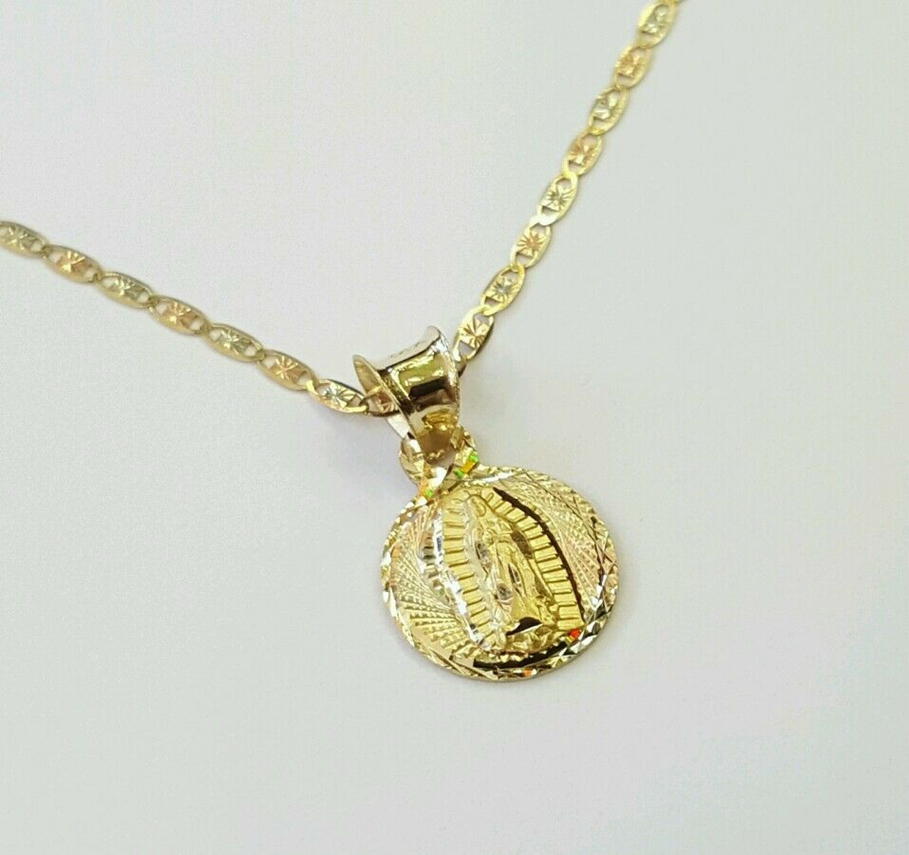 14k Yellow Real Gold Guadalupe Virgin Mary Baptism Smal Pendant Charm Free Chain