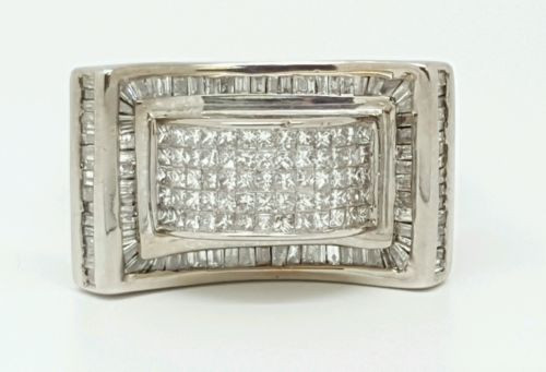 Mens Diamond Ring 14k White Gold Princess Cut Invisible Setting 4.16 Ct 25 Grams