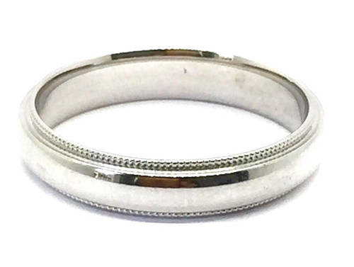 Solid 14K White Gold 4 MM Size 11 Milgrain Wedding Ring Band Mens Womens