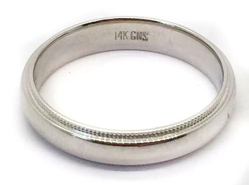 Solid 14K White Gold 4 MM Size 8 Milgrain Wedding Ring Band Mens Womens