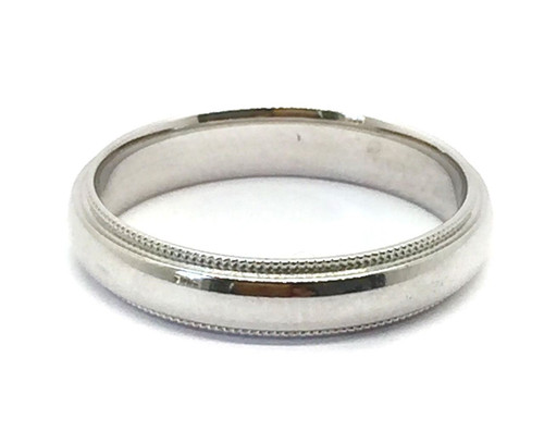 Solid 14K White Gold 4 MM Size 9 Milgrain Wedding Ring Band Mens Womens
