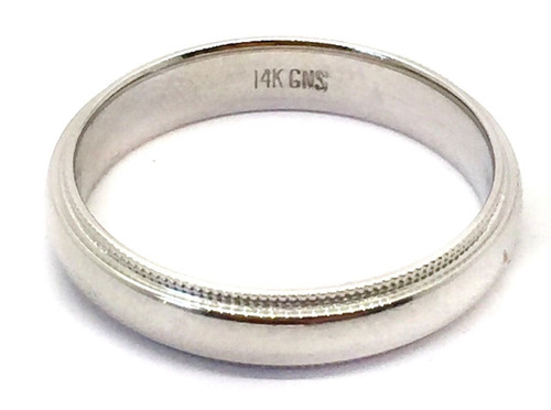 Solid 14K White Gold 4 MM Size 10 Milgrain Wedding Ring Band Mens Womens
