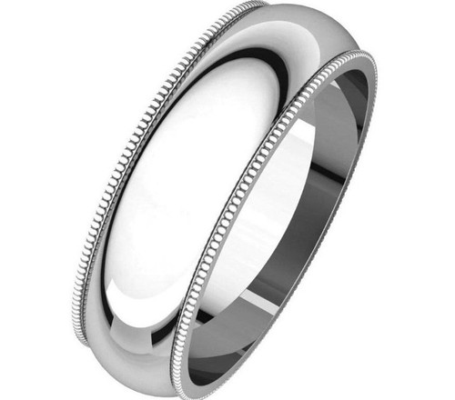 Solid 14K White Gold 6MM Size 8 Milgrain Wedding Ring Band Mens Womens