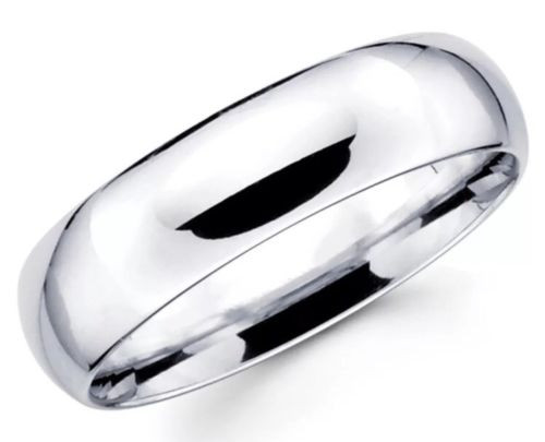 Solid 14K White Gold 6 MM Size 10 Comfort Fit Wedding Ring Band Mens Womens