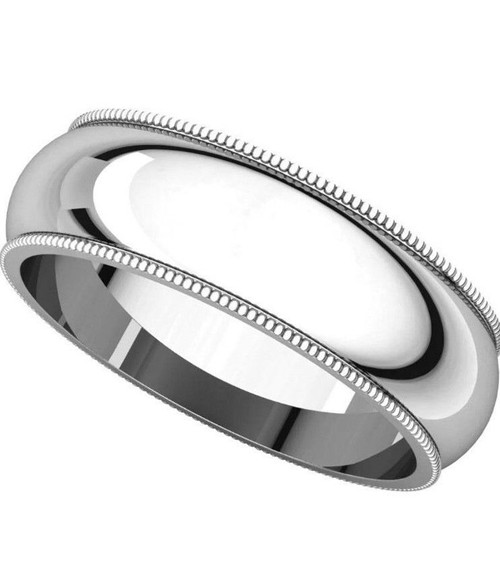 Solid 14K White Gold 6 MM Size 9 Milgrain Wedding Ring Band Mens Womens