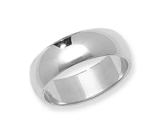 Solid 14K White Gold 6 MM Size 9 Wedding Ring Band Mens Womens