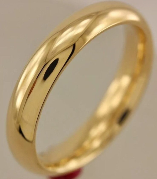 Solid 14K Yellow Gold 4 MM Size 11 Wedding Ring Band Mens Womens