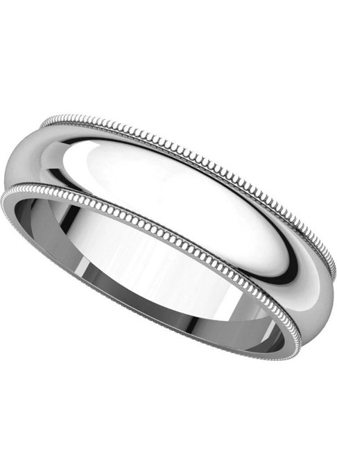 Solid 14K White Gold5 MM Size 11 Milgrain Wedding Ring Band Mens Womens