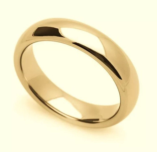 Solid 14K Yellow Gold 4 MM Size 12 Comfort Fit Wedding Ring Band Mens Womens