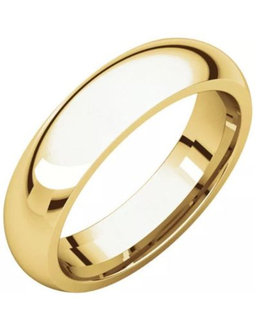 Solid 14K Yellow Gold 5 MM Size 8 Wedding Ring Band Comfort Fit Mens Womens