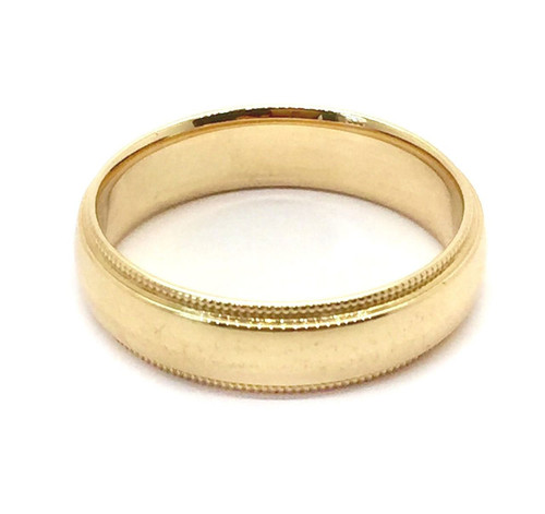 Solid 14K Yellow Gold 5 MM Size 11 Milgrain Wedding Ring Band Mens Womens
