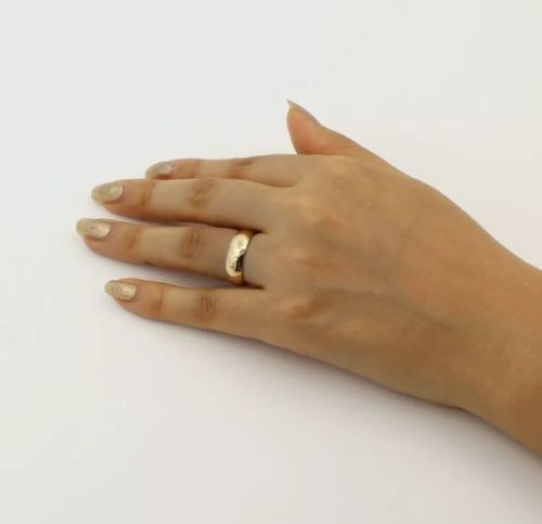 Solid 14K Yellow Gold 6 MM Size 8 Comfort Fit Wedding Ring Band Mens Womens