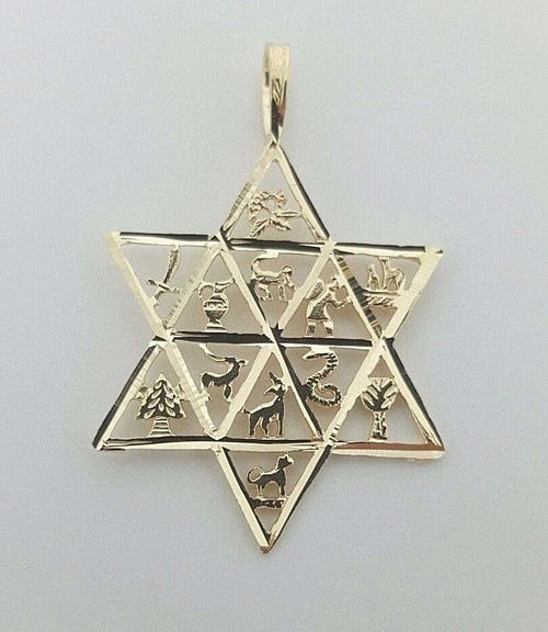 Star of David Twelve Tribes of Israel Jewish 14k Solid Yellow Gold Pendant 23MM