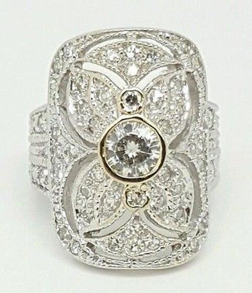 Vintage 18k White Gold 1.38Ct Round Diamond & Moissanite Filigree Ring Size 4.75