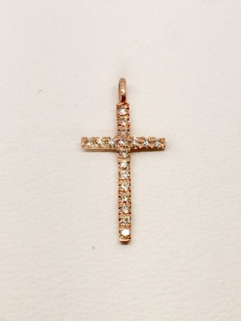 14k Solid Rose Gold Natural Round Diamond Tiny Cross Pendant Womens, Children