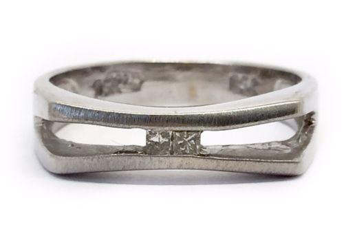 Vintage Art Deco Mens 18k Solid White Gold Princess Cut Diamond Ring 5.6mm Size9