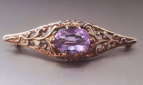 Antique Victorian 14K Gold 5 Ct Oval Amethyst Pin Brooch Vintage Pin Brooch