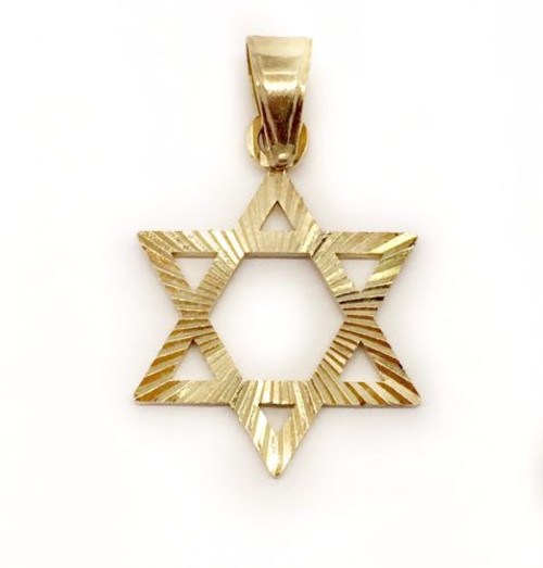 Star of David 14k Solid Yellow Gold Diamond Cut Charm Pendant Mens / Womens