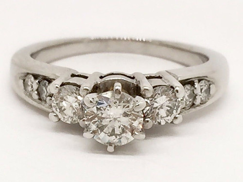 0.80Ct Round Diamond Solitaire With Accent 14k White Gold Bridal Engagement Ring