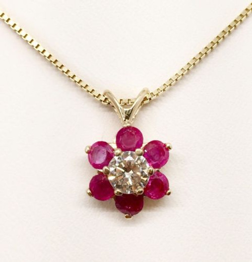 14K Solid Yellow Gold 1.01Ct Natural Diamond and Ruby Flower Pendant & Box Chain