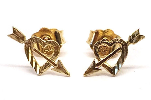 14k Solid Yellow Gold Heart And Arrow Stud Earrings Women/Men Push Back 10 MM