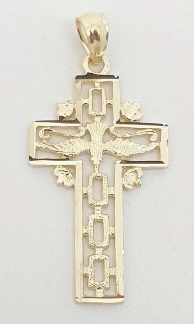 """14k Solid Yellow Gold Dove Bird Cross Pendant Men/Women 0.95"""""""