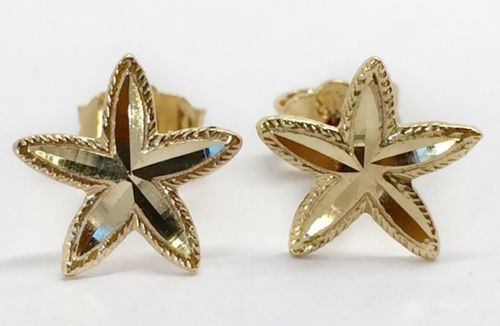 14k Solid Yellow Gold Star, Starfish, Flower Stud Earrings PushBack 8 MM