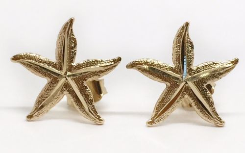 14k Solid Yellow Gold Starfish Sea Life Ocean Summer Stud Earrings PushBack 14MM